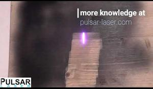 cleaning Wood - removing Graffiti spray with PULSAR Laser